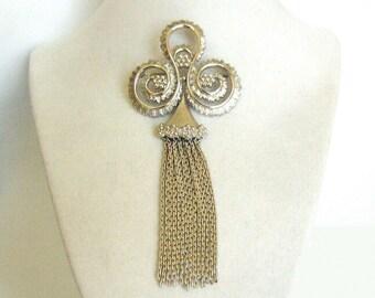 Monet Stylized Fleur de Lis Silver Tone Tassel Brooch