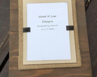 Sale - 5x7 Plank Rustic Wood Picture Frame | Brown, Tan & Burlap Frame | Ready to Ship
