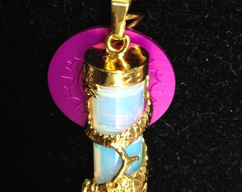 Powerful Dragon with Opalite and Purple Energy Disk Necklace