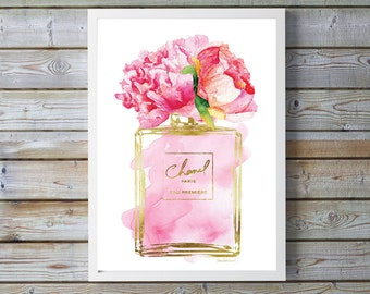 Fashion perfume inspired Watercolor flower Peony Pink watercolour, bathroom decor, bedroom decor, fashion illustration fashion ombre gift