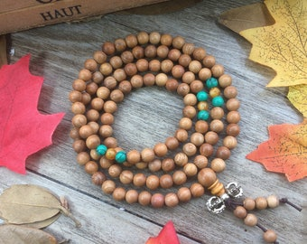 108 6mm Taxus chinensis (Pilger) Rehd. Wood Beads W/ Turquoise Spacer Buddist Prayer Beads Japa Mala Necklace