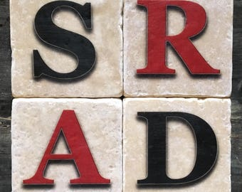 Initials Coaster or Decor Accent (Pick Your Own) Tile Set x4