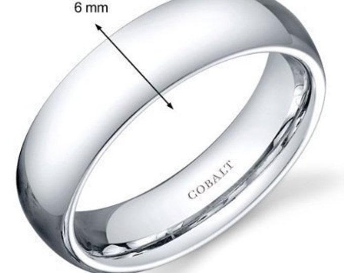 6 mm Cobalt Chrome Domed Shape Polished Ring Wedding Band - Comfort fit