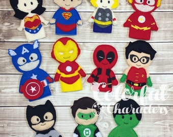 Superhero finger puppets, pretend play, therapy toys, felt toys, stocking stuffers, party favors
