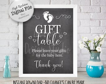 Gifts For Baby, Gift Table Sign, Baby Shower Printables, Baby Shower Decor, Chalkboard Style, 8x10/16x20, Instant Download, Digital Files