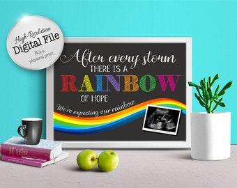 Baby Pregnancy Announcement, Rainbow Baby, Photo Prop, Ultrasound, Digital Print