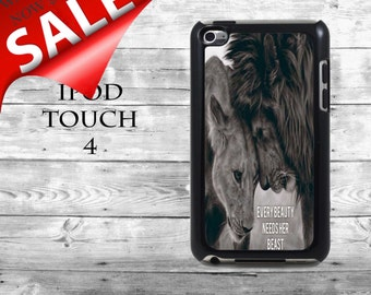 Evey beauty needs her beast Lion couple love - SALE iPod Touch 4G case - animal Lions phone iPod Touch case,  iPod cover
