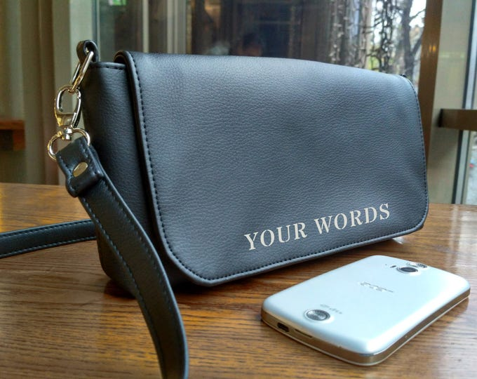 Black Clutch, Women purse, Crossbody mini, Vegan Leather bag, Evening bag, Personalized gift