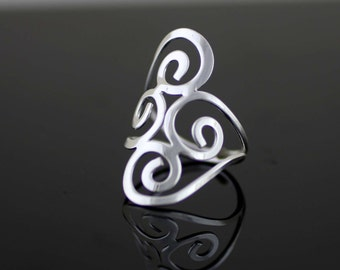 Sterling Silver Long Filigree Ring, Silver Long Finger Armour, Solid Silver Ring, Silver Fan Ring, Long Ring , Statement Ring, Boho Ring