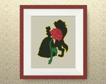 BUY 2, GET 1 FREE! Beauty and the Beast cross stitch pattern, Instant Download, Disney Princesses cross stitch pattern, Belle pattern, #P283