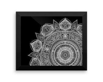 Framed Black And White Mandala Art Print Yoga Meditation Design