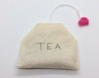 Felt Tea Bag with Ribbon Catnip Cat Toy Handmade