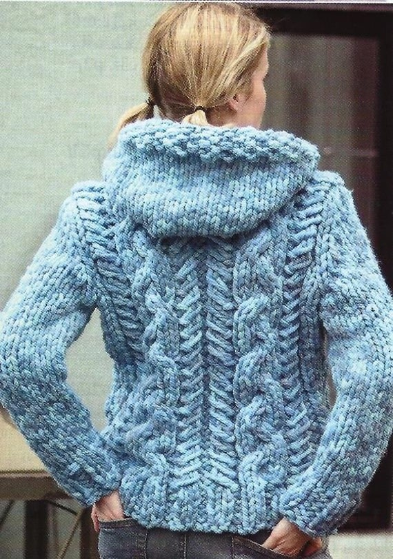 PDF Chunky Cabled Cardigan Knitting Pattern Vintage Retro