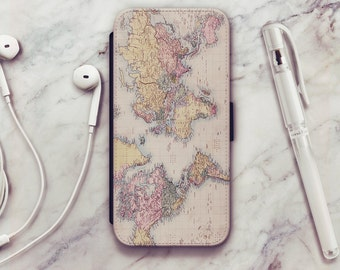 World Map iPhone 6 Wallet Case, World Map iPhone 6s Wallet Case, iPhone 5s Wallet Case, iPhone 7 Wallet Case, iPhone SE Wallet Case