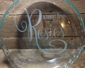 Customized etched glass pie plate