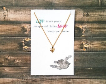 Turtle Necklace | Friendship Necklace | Silver or Gold | Best Friend Gift | Mother Daughter Sister Gift | Gift for her