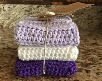 kitchen dishcloth set, rustic decor,  handmade dishcloth, eco friendly, enviro friendly, purple, lilac, white dishcloths, crocheted cloth