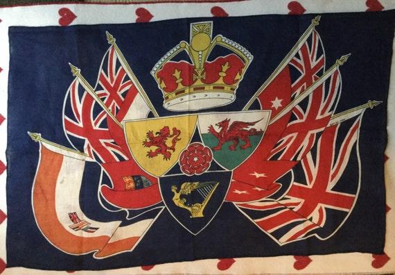 Vintage British Coronation Flag UK flag on linen