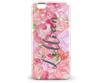 1443 // Pink Floral Name Phone Case Lilly Pulitzer Inspired iPhone 5/5S, 6/6S, 6+/6S+ Samsung Galaxy S5, S6, S6 Edge Plus, S7