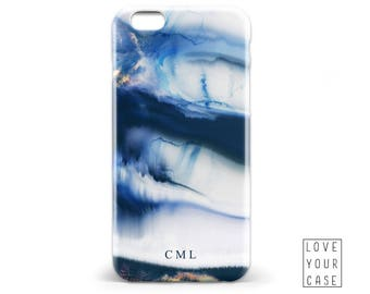 1456 // Blue Watercolor Texture Monogrammed Initials Name Phone Case iPhone 5 5S 6 6S,Samsung Galaxy S5 S6, Samsung Galaxy S7 Edge Plus