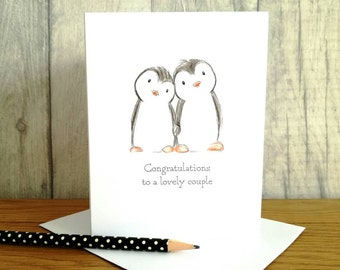 Penguin engagement card, congratulations card, Happy engagement card, lovely couple