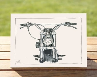 """Motorcycle Gift Card - """"Head on"""" Portrait 
