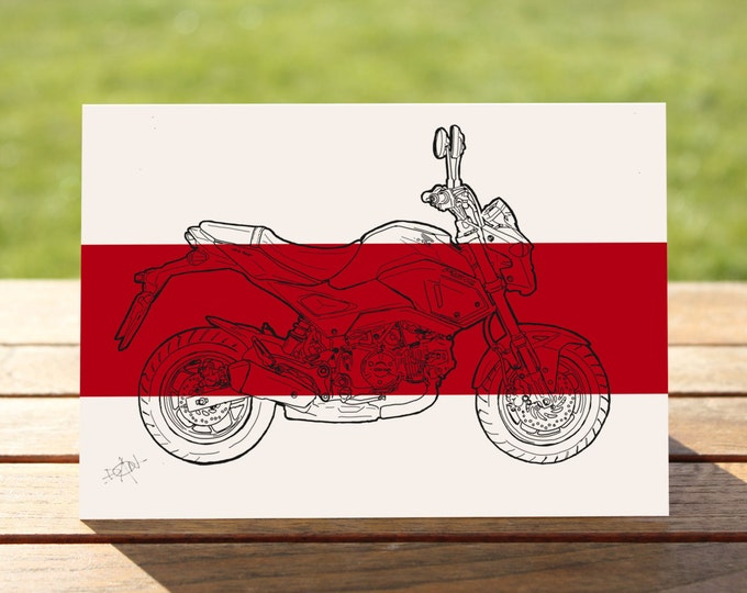 "Honda Grom Motorcycle Gift Card, Red Colourblock Design | A6 - 6"" x 4"" / 103mm x 147mm + Envelope 