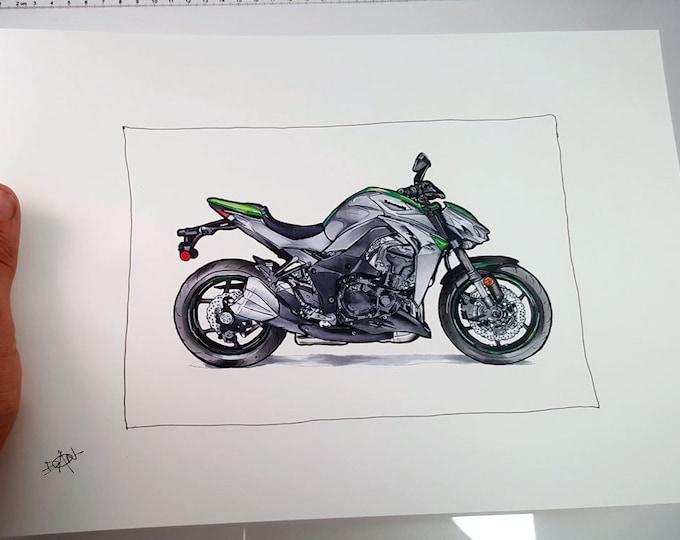 Kawasaki Z1000 Motorcycle - Fine Art Print | Motorcycle Art | Motorcycle Illustration