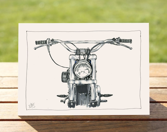 """Motorcycle Gift Card - """"Head on"""" Harley Davidson Portrait 