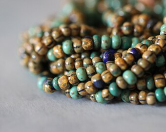 Aged, Turquoise, Striped, Picasso, 5mm, Ancient, Czech Glass, Seed Beads, 4.0, 20 inch strand