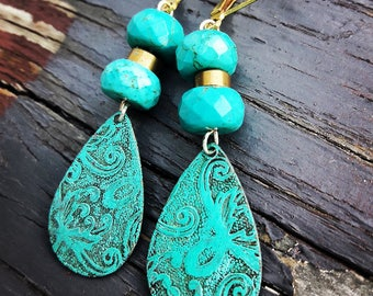 SALE Vedigris Brass And Turquoise Earrings