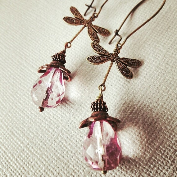 Dragonfly earrings, Dangle Earrings, Dragonfly Jewelry, Lilac Glass Earrings, gift for her