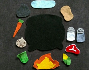 Stone Soup Felt Story Set // Flannel Board Set // Preschool Lesson on Sharing  // Team Work // Work Together //