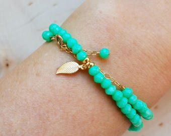 Green Chrysoprase Wrap Bracelet and Choker