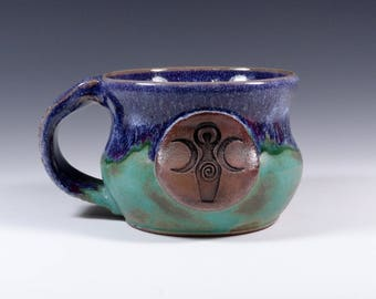 Goddess handmade pottery stoneware mug purple/green art glaze