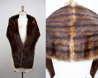 1950s Musquash Fur Stole / 50s Muskrat Brown Fur Wrap / Silk Lining / One Size / Real Fur Shrug / S M L XL XXL