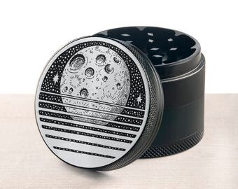 Laser engraved herb grinder | The moon grinder by Topboro