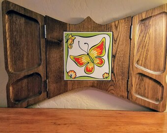 Vintage Butterfly Cheese Appetizer Board Folds Up