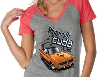 Ladies Dodge 1970 Plymouth Hemi Cuda Contrast V Neck Shirt 20416D2 WJP0567