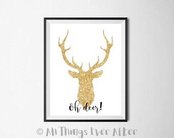OH DEER | Golden Glitter Deer Head | wall art | decor | Modern | Sign | Print | Entryway | Door | Hallway | 0049