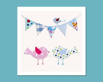 Kids wall art - nursery art Print Personalized - baby nursery decor - nursery wall art - kids room decor - Poster - birds - flags