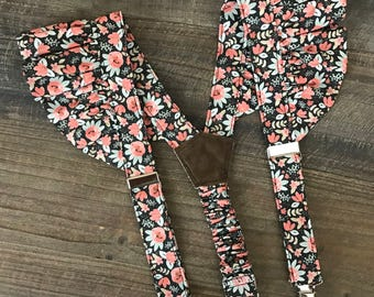 Girls Suspenders in floral material