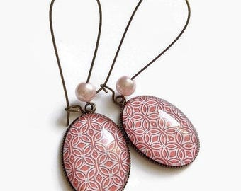 Pink coral dangling earrings * way art deco geometry * floral flowers pattern birthday glass cabochon