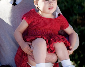 Red Crochet Baby Dress Sizes 3-12 months, Eco-Friendly Baby Dress, Christmas Baby Dress, Luxury Baby Dress, Christmas Photo Dress
