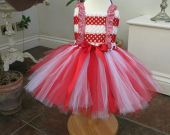 Baby Candy Cane tutu dress. Would also make a great Dorothy from the Wizard of Oz