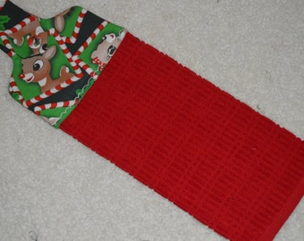 Deer Hanging Kitchen Towel, Christmas Kitchen Towel, Rudolph  Hanging Kitchen Towel, Hanging Towel from Oven Door,Kitchen Hand Towel