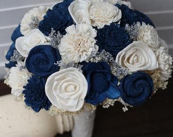 navy blue wedding bouquet, sola bouquet, wedding bouquet, bridal bouquet, rustic wedding, country wedding, blue silver bouquet