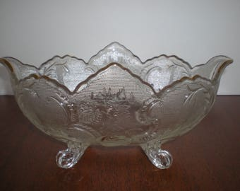 Vintage Footed Bowl with Gold Trim Retro Dinnerware Glass Bowl