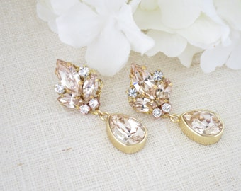 Gold drop earrings, Champagne teardrop bridal earrings, Swarovski crystal wedding jewelry, Gold wedding earrings, Mother of the bride
