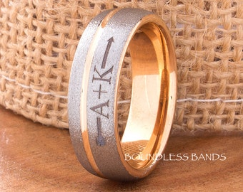Tungsten Ring Rose Gold Wedding Band 7mm His Hers Arrow Initial Ring Man Wedding Band His Hers Initial Ring Laser Engraving Anniversary Ring